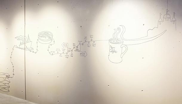 starbuksスターバックス壁面ラインアート